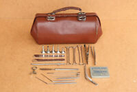 Old Vintage Doctor First Aid Medical Leather Bag with German Instruments 1950's