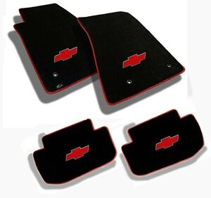 NEW BLACK FLOOR MATS 2010-2014 Chevy Cruze with Red Bowtie Logo Red Binding All