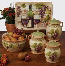 Grape Vine Canister Set 3 Piece Contemporary Kitchen Hand Painted Ceramic Decor