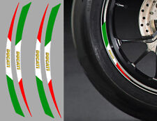 "4 X STICKERS ITALIE ROUE JANTE 17"" DUCATI AUTOCOLLANT MOTO (RA087DUC)"