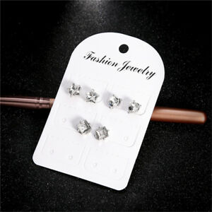 Faux Crystal Rhinestone Ear Stud Heart Star Earring Sweet Multi Pack Brinco AA
