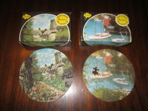 2 Tuco Round Miniature Puzzles Castle & Boats / Harbor