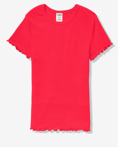 Victoria Secret PINK Tee  Womens Medium New Ruffled Neon Candy Coral Red Fitted