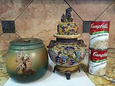 Antique Humidor Weller Dickens Ware Pottery Native American Indian