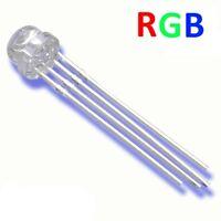 S251 - 10 Stück LED 5mm RGB 4 Pin klar Kurzkopf Flachkopf gem. Kathode Minus