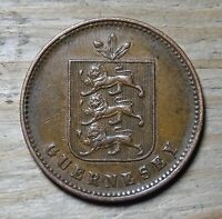 Guernsey 4 Doubles Coin~1858 National Arms~KM#2~Bronze 10g~aEF~#474