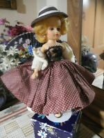 "VTG NANCY ANN Doll 10"" Blonde TAGGED Brown Skirt Pearl Sweater, Shoes Straw Hat"