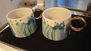 2 Anthropologie Night Sky Watercolor cups mugs Blue Gold Stars cereal soup green