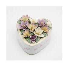 "PORCELAIN PURPLE FLOWERS HEART SHAPE-A GRANDMA IS A FRIEND..-""MEMORY"" MUSIC BOX"