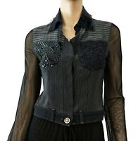 GRAZIA BAGNARESI Vint Deconstructed Cotton Silk Lace Paneled Jean Jacket 38 US 2