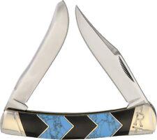 Rough Rider Peak Moose Pocket Knife Stainless Steel Blade Turquoise/Jet Handle