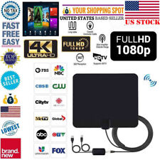 US Indoor HDTV Amplified HD TV Digital Antenna 200 Mile 1080P 4K 16FT Coax Black