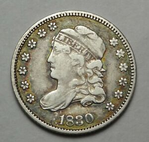 1830 Capped Bust Half Dime Very Fine LM-6 R.4 Toning Toned H10c Coin