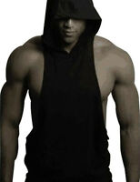 Men Gym Clothing Bodybuilding Stringer Hoodie Tank Top Muscle Hooded Shirt Tops