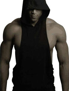 Men Solid Gym Clothing Bodybuilding Stringer Hoodie Tank Top Muscle hooded Shirt
