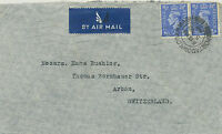 "GB ""PORTADOWN.CO.ARMAGH / 2"" double ring (25 mm) airmail cover to Switzerland"