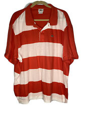 New listing Lacoste Mens Size 9 (4XL) Red White Striped Rugby Golf Polo Shirt 100% Cotton