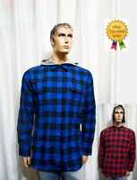 NEW Kenneth Cole Reaction mens Modern Fit Flannel hooded plaid shirt M L XL XXL