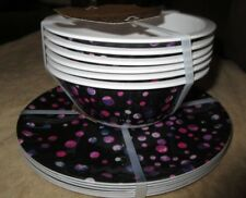 New 6 Nicole Miller Home Round Melamine Salad Plates w/ 6 Small Bowls