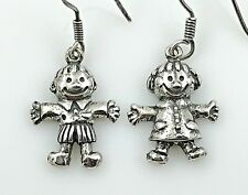 VINTAGE .925 Sterling Silver, Decorative Dangling Boy & Girl Earrings, Wires