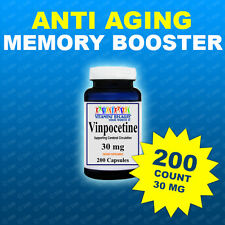 Vinpocetine 30 mg 200 Caps Max Strength  Memory, Brain Health, USA-CGMP Facility