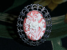 Long Hatpin With White Flowers On Pink Cameo - Silver Finish - 8 Inch