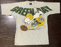 Vintage Snoopy Charles Schulz Green Bay Packers NFL Football T-shirt Mens Large