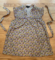 Forever 21 Women Multicolored Floral Ruffle Pleated Sleeveless Blouse Size Small