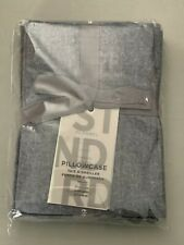 West Elm Standard Pillowcase Set of 2 Flannel Graphite Brand New with Tags!