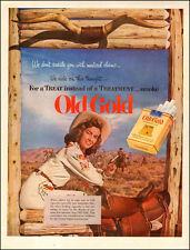 1952 vintage Cigarette AD OLD GOLD Cigarettes Cow Girl Smoking on Saddle 031817