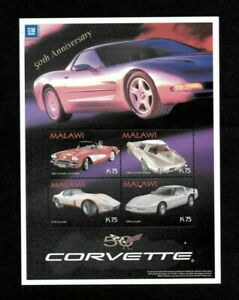 MODERN GEMS - Malawi - 2003 - Corvette 50th Anniversary - Sheet of Stamps - MNH