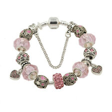 Silver Crystal  Rhinestone Bead Charm Bracelet Bead Safety chain Women Girls UK