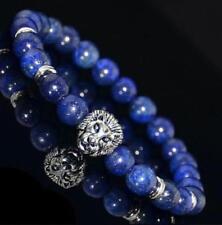 Vintage Men's Blue SODALITE Retro Silver Lion Head Beaded Yogo Stretch Bracelet