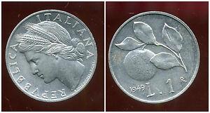 ITALIE   ITALY  1 lira 1949 ( bis )