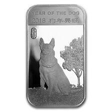 2018 Chinese Lunar Calendar Year Of The Dog 1 oz .999 Silver BU USA Made Bar