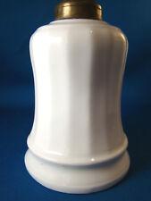 "Antique White Porcelain Base Small Oil Lamp White 5 1/4"" Tall Ribbed @24"