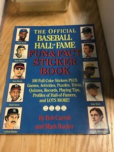 1989 Official Baseball Hall of Fame Sticker Book with Stickers
