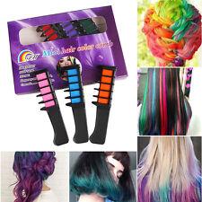 6x Temporary Hair Chalk Soft Pastels Cream Comb Brush Hair Dye Colour Salon Set
