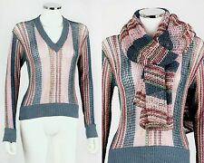 Missoni c.1970's Vtg 2Pc Knit Linen Crochet Sweater Top Shawl Wrap Set 42