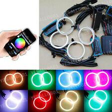4PC 70MM COB LED RGB Angel Eye Lights Halo Rings DRL Headlight Phone APP Control
