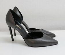 SIGNATURE: Saint Laurent 'Paris' Pumps Heels Concrete Grey Leather NWT IT41/UK8