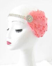 Coral Pink & Silver Feather Fascinator Headpiece Vintage 1920s Headband 1930 S72