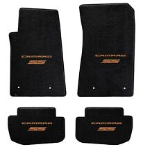 NEW BLACK FLOOR MATS 2010-2015 Camaro Embroidered Logo & SS in Orange on all 4