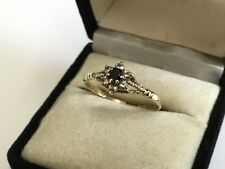 Pretty 9ct Gold, Sapphire & CZ Ring. Full UK Hallmarks Birmingham 1981