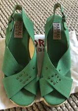 APC Madras Shoes Green Wedge Espadrilles Sandals 38 5