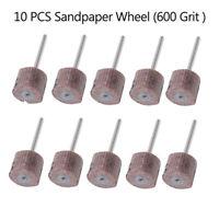 UK 10Pcs Sanding Sandpaper Wheel Disc Flap 600 Grit Set For Dremel Rotary Tool