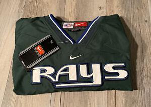 Vtg MLB Tampa Bay Devil Rays Nike Windbreaker Jacket Men's Sz L Green NWT