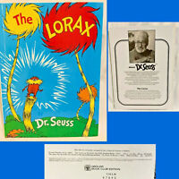 1971 / 1996 THE LORAX Dr Seuss Hardcover Large Grolier Book Club Edition EXC