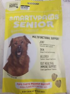 SMARTYPAWS SENIOR MULTIFUNCTIONAL SUPPORT CHEWS PEANUT BUTTER NATURAL DOG PET 60