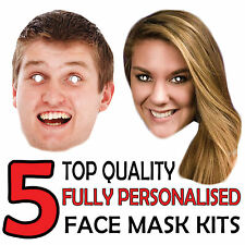 5 PERSONALISED CUSTOM FACE MASK KITS SEND A PICTURE PHOTO AND WE WILL PRINT!